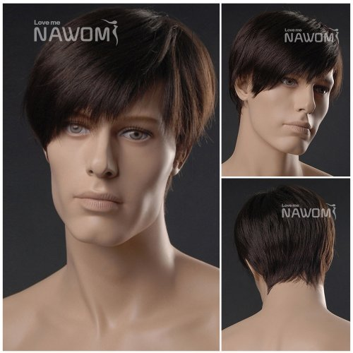 (WG-ZL293-4)Short Straight Men Wig,Dark Brown color. by Roxy Display by Chunkaew