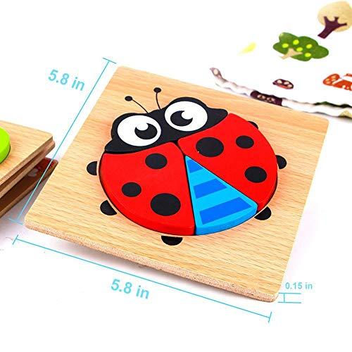 rosemaryrose Tangram Puzzle Ab 1 Jahr Steckpuzzle Holz Ab 1-Tangram 3D Puzzle-Spiel Toy Wooden -Puzzle Block Animal Kid Child