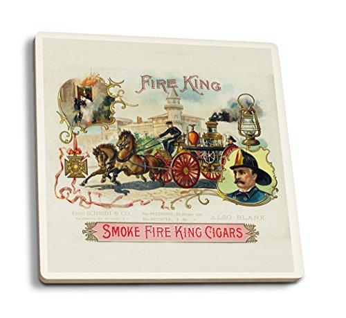 Fire King Marke Cigar Box Label-Feuerwehr mit Pferd Motor, keramik, mehrfarbig, 4 Coaster Set