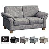 CAVADORE 2-Sitzer Byrum im Landhausstil / Große Couch mit Federkern / 156 x 87 x 88 / Strukturstoff Mint (bunt)