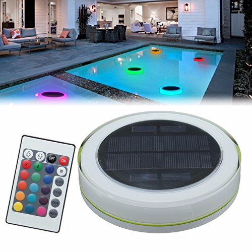 kylc01, RGB LED unde rwater Light Solar Power Pond Swimming Pool Floating Waterproof LED Outdoor Light with Remote Control New (Outdoor Light Remote)