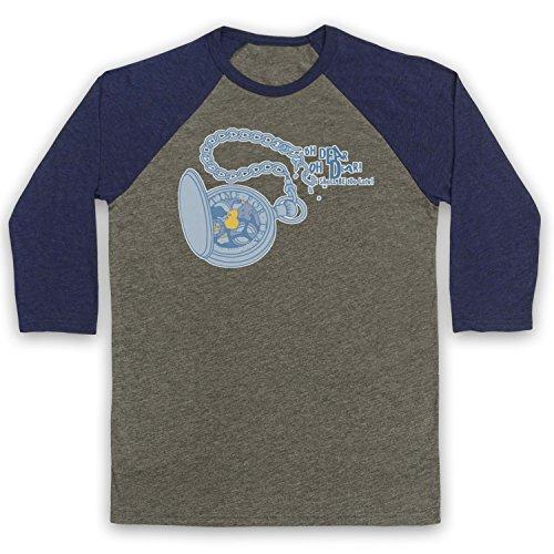 Inspired Apparel Inspiriert durch Alice in Wonderland Pocket Watch Inoffiziell 3/4 Hulse Retro Baseball T-Shirt, Grau & Ultramarinblau, Medium