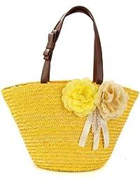 Paja Dos Flor Bolsa De Hombro Bolso De Tejido De Mujer Color Floral Tejido Mujer Ocio De Viaje Verano Playa Tote , yellow