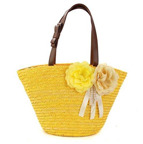 Borsa a tracolla a due fibbie di spalla delle donne Borsa a maglia delle donne a maglia delle donne tessute floreali Tote di spiaggia di estate di viaggio di svago , yellow yellow