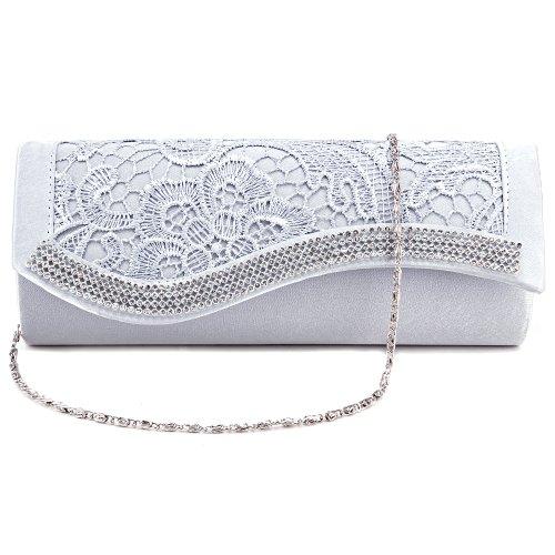 Luxus Spitze Damentasche Clutch Handtasche Abendtasche Satin Brauttasche mit Strasse weiß/schwarz/silber/Champagner silber