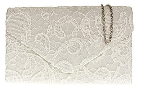 Girly HandBags Satin Lace Clutch Bag Shoulder Chain Elegant Wedding Evening Womens Gift -- Ivory