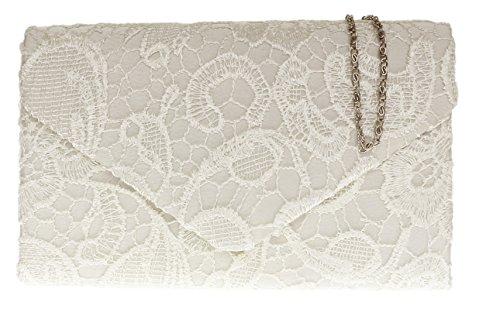 Girly Handbags Satin Spitze Handtasche Schulter Ketten Elegante Hochzeits Abend Frauen Geschenk (Elfenbein Handtasche Damen)