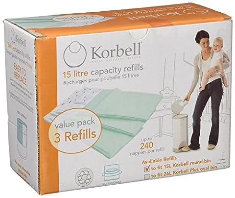 Korbell STANDARD - Pack de 3 Recharges sacs poubelle couches 16L