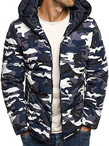 OZONEE Herren Winterjacke Wärmejacke Kapuzenjacke Camouflage Militärstil Armee Sweatjacke Steppjacke Jacke Sportjacke Kapuzenjacke OZONEE 3167 WEIß-SCHWARZ