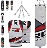 RDX Boxsack Set Gefüllt Kickboxen MMA Muay Thai Boxen mit Stahlkette Training Handschuhe Kampfsport Schwer 4FT 5FT Punching Bag