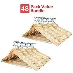 Wooden Suit Hangers - 48 Pack