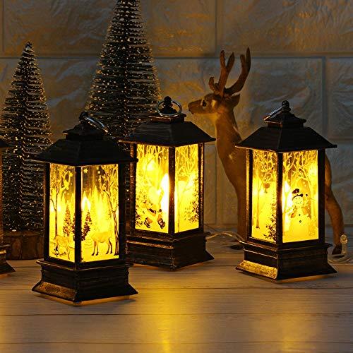 Fuibo Weihnachten Kerze Laterne Deko, Weihnachtskerze mit LED Teelicht Kerzen für Weihnachtsdekoration Teil Gartendekoration Kerzenhalter Kerzenleuchter Stalllaterne (C_3 Stück)