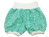 Kleine Könige kurze Hose Gr. 50-152 Baby Hose Mädchen Sommer Muster retro 'Floral mint', weiß