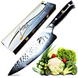 ZELITE INFINITY Chef Knife 8 Inch - Alpha-Royal Series Executive Chefs Edition - Revolutionary AIR-Blade Design, Best Japanese AUS10 Super Steel 67 Layer High Carbon Stainless Steel, Tsuchime Finish