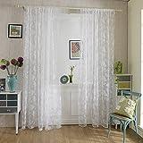 Chlove Transparenter Vorhang Blumen Spitze Erker Vorhänge Fenster Gardine für Wohnzimmer Schlafzimmer 200cmx100cm (H X B) 1er-Set Weiß
