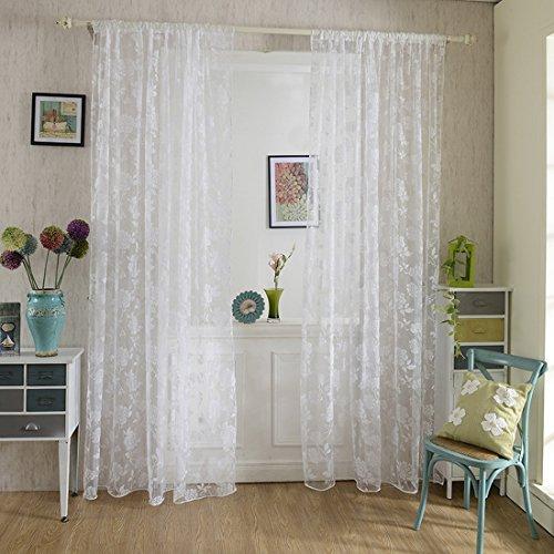Nibesser Vorhänge Transparent Schlaufenschal Gardine Dekoschal Voile für Schlafzimmer Wohnzimmer 100×200cm (2 Stück)