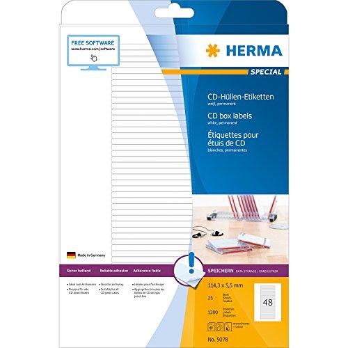 Herma 5078 Universal-Etiketten (für CD-Box, A4 Papier matt, 114,3 x 5,5 mm) 1200 Stück weiß