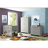 Babyzimmer / Kinderzimmer aus der Serie Jany mit 2- türigem Kleiderschrank in Grau