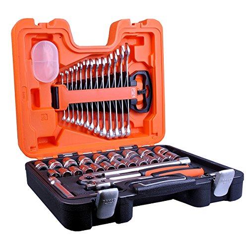 BAHCO Steckschlüssel-Satz S400 1/2″ vierkant mit Umschaltknarre 40-teilig