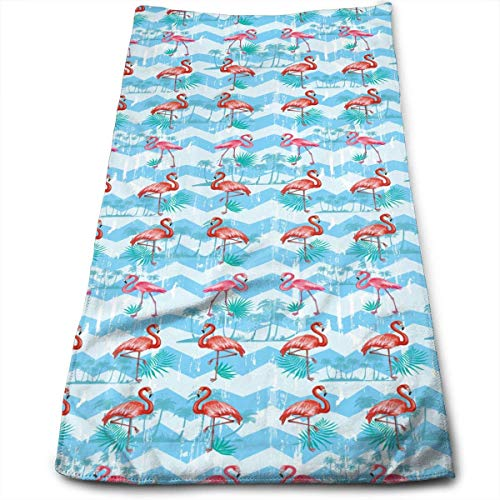 Kitchen Hand Towel Pattern with Flamingoes Durable Antibacterial and Highly Absorbent Reusable Polyester Towel