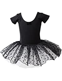 TOOGOO(R) Polka Dots Flower Girls Leotard Ballet Tutu Skate Dance Birthday Party Skirt Dress£¨Black-150cm£©