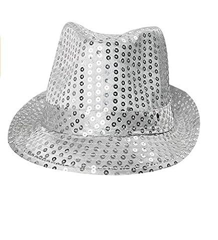 oyang LED clignotant fantaisie Parti chapeau Fedora à sequins pour femme Jazz Bouchons noir, argent