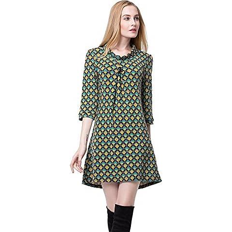 Pliegues Plisado Botones Three Quarter Babydoll Pullover Sweater Túnica Top Verano Vestido