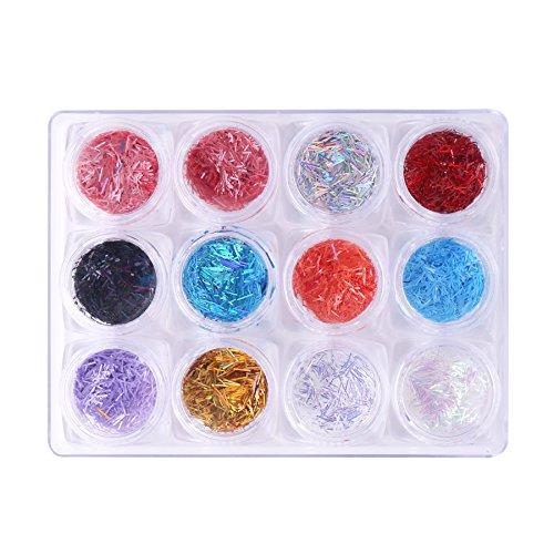 stall Strass Maniküre Gems Staub Pulver selbstklebend Sparkling Dekoration Palette Set (Acryl-nägel Designs Für Halloween)
