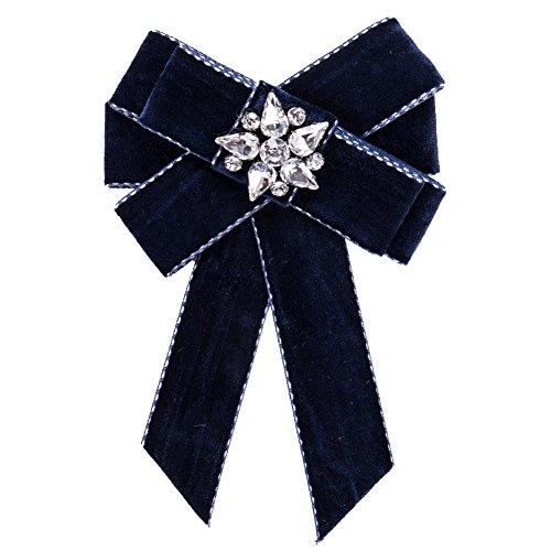 Yazilind Fliege Strass Band Baumeln Bowknot Broschen College Adrette Pre-gebunden Krawatte für Frauen Mädchen (blau)