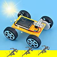 Spritumn Solar Toy Car, Mini DIY Solar Panel Powered Car Smallest Solar Power Mini Toy Car Racer Educational Solar Powered Kids Toy