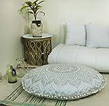 KIARA - Grand Coussin de méditation en Forme de Mandala Doux - 81,3 cm - Housse de Coussin de méditation - Décoration Hippie - Bohème - Pouf Indien - Pouf Ottoman, Coton, Silver Ombra, 81.28 cm