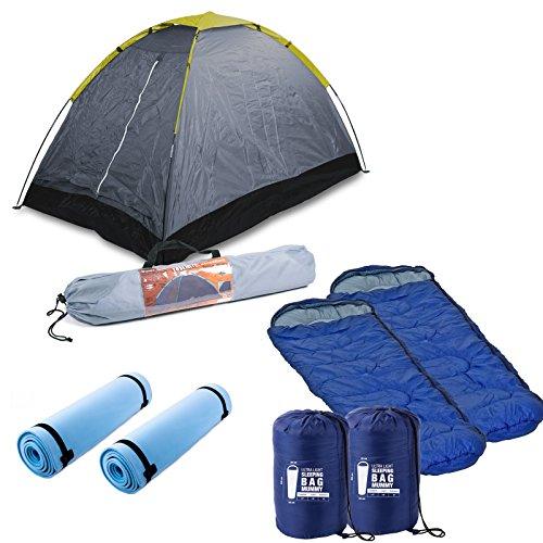 2 Mann Zelt Wasserdicht, 200x120x100 cm, grau, 1400 Gramm, Tragetasche inkl. Isomatte und Schlafsack