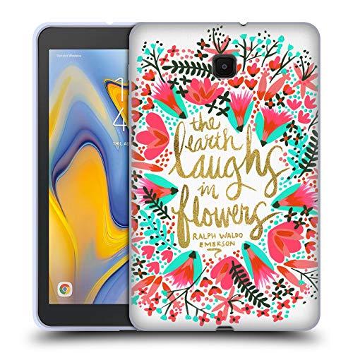Head Case Designs Offizielle Cat Coquillette Laughs Flowers Rosa Kalligraphie Soft Gel Huelle kompatibel mit Galaxy Tab A 8.0 (2018) -
