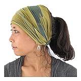 Casualbox Damen Stirnband Headband Bandana Band Hand gefärbt Japanisch Haar Marmor khaki