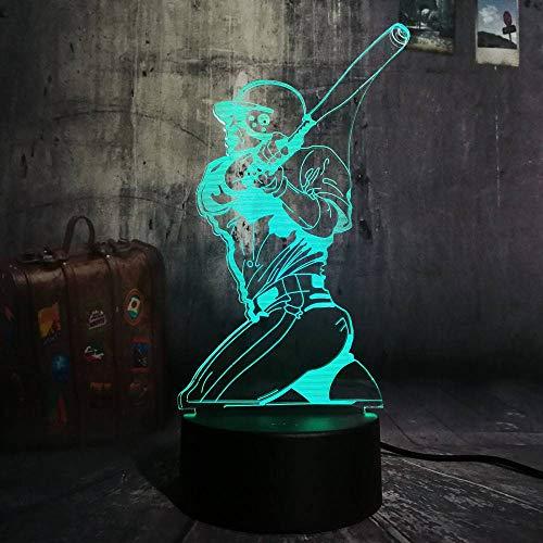 YDBDB Nachtlicht Neuheit Neue Sport Spielen Baseball 3D Led Illusion Usb7 Farbwechsel Lampe Dekoration Kind Junge Mann Geschenk -