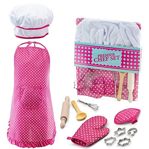 Toys Gifts for 3-12 Girls, Chef Set for Kids Mitt & Utensil for Toddler Dress Up Career Role Play Toddler Cooking and Baking Set Chef Costume Halloween Idea for Girls Stocking Fillers Pink DDCSF03