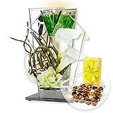 Glas-Spiegel-Windlicht mit Blumen-Deko und LED und Belgische Pralinen