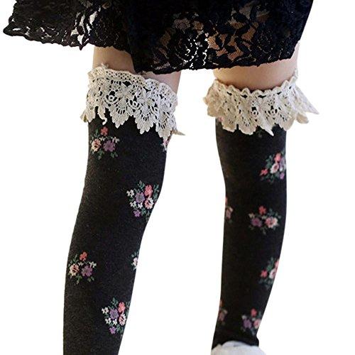 Rosennie Baby Mädchen Knie Schenkel hohe Socken Prinzessin Spitze Blumen Stiefel Socken Winter Warme Socken Anti Rutsch Baumwolle Strümpfe Overknee Strümpfe (Schwarz, Einheitsgröße) (Blumen-knie-socken)