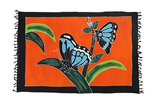Exclusiv Originale Handarbeit von Ciffre Sarong - Große Auswahl hochwertiger Strandtücher aus Bali Indonesien - Viele Farbe - Pareo Designy by EL-Vertriebs GmbH SJ4 Butterfly Handbemalt