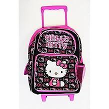 Small Size Black and Pink Hello Kitty Rolling Mochila - Hello Kitty Kids Maleta con Ruedas
