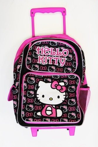 Small Size Black and Pink Hello Kitty Rolling Mochila – Hello Kitty Kids Maleta con Ruedas