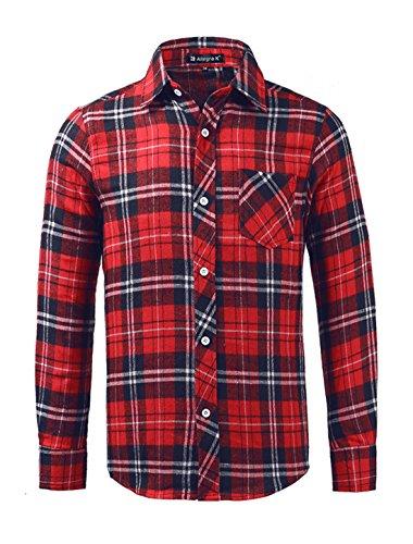 Preisvergleich Produktbild uxcell Allegra K Herren Langarm Karohemd Slim Fit Flanellhemd für Freizeit,  Rot-Blau / S (EU 46)