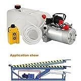 Ambesten Hydraulikpumpe 6L Einfachwirkend Hydraulikaggregat 12V DC Kunststofftank Hydraulikpumpeneinheit mit Remoter für Dump Trailer Car Lifting (6L Kunststoff Einfachwirkend)