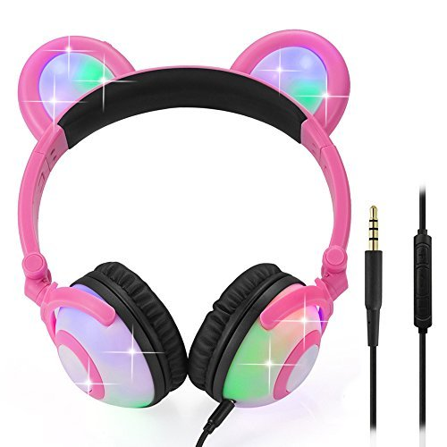 Wired Bear Ear Headphones with Glowing Lights and Mic (Pink) 51K10g0P2fL