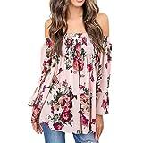 T-Shirt,Honestyi Räumungsverkauf, Frühling-Sommer Mode Damen Blumen Drucken Oberteile Kreativ Entwurf Aufflackern Hülsen Hemd blusen elegant Rosa Tops T-Shirt Streetwear S-XXXL (XXXL, Rosa)