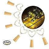 6pcs LED String Luci a Batteria Fata Tappo del Vino Bottiglia Fata Luci Micro 2m 20 LED per la bottiglia DIY, Halloween, Natale, Barbecue, Riunirsi, Festa, Matrimonio, Vacanza, Interno, Esterno
