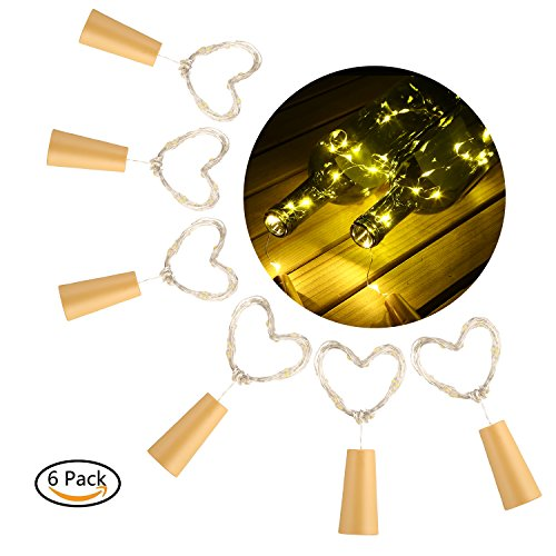 Zeile Sechs Licht (6 Stück 20 LED Flaschenlichter Lichterketten Warm Weiß Weinflasche Cork Lichter LED Kupferdraht Lichter String Starry LED Lichter für Flasche DIY, Party, Dekor, Weihnachten, Halloween, Hochzeit)