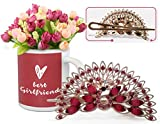 Romantic Valentines Gifts | Valentine's Day Gifts for Wife | Valentine's Day Gifts for Girlfriend Peacock Shaped Hair Clip and Valentine's Special Coffee Mug with Bunches of Peonies