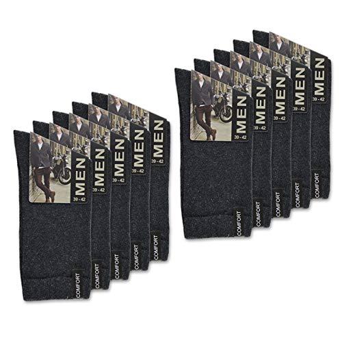 sockenkauf24 10 Paar Herren Socken mit Komfort-Bund aus Baumwolle in Schwarz, Jeans, Grau oder Anthrazit - 15922 (39-42, 10 Paar | Anthrazit)