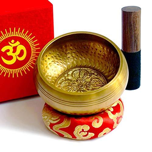 Tibetische Klangschale Set 7 Metalle aus Nepal 450gr Handgemachtes mit Klöppel und Kissen Loktapapier Box für Buddhistische Meditation i Chakra Therapie